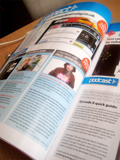 5 questions with Mr P makes page 22 of webdesignermag!